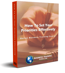 photo of courseware box-How to Set Your Priorities Effectively Online Course from Business Training Global.com