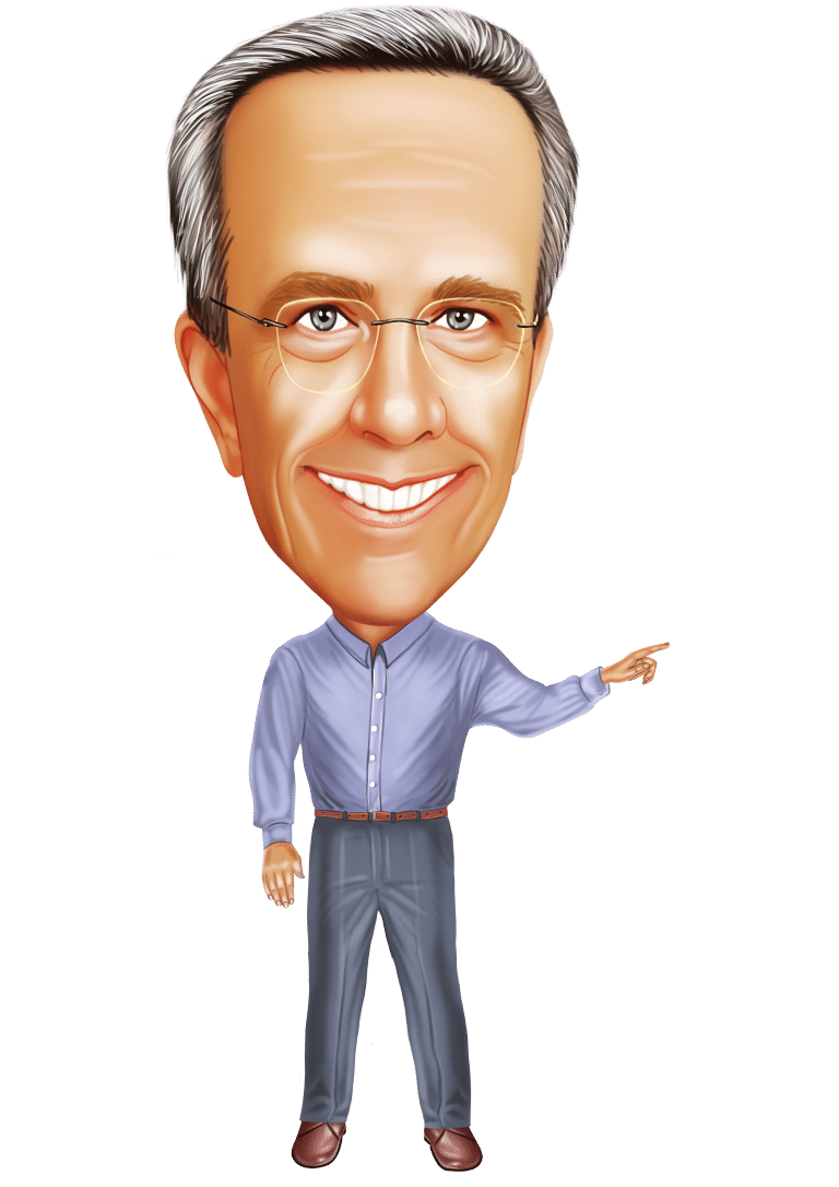 caricature of Terry H Hill pointing to left of image