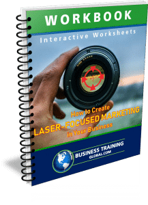 photo of workbook for how to create laser focused marketing in your business