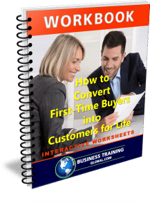 photo of workbook for how to convert first time buyers into customers for life