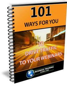 photo of guidebook for 101 ways for you to drive traffic to your webinars