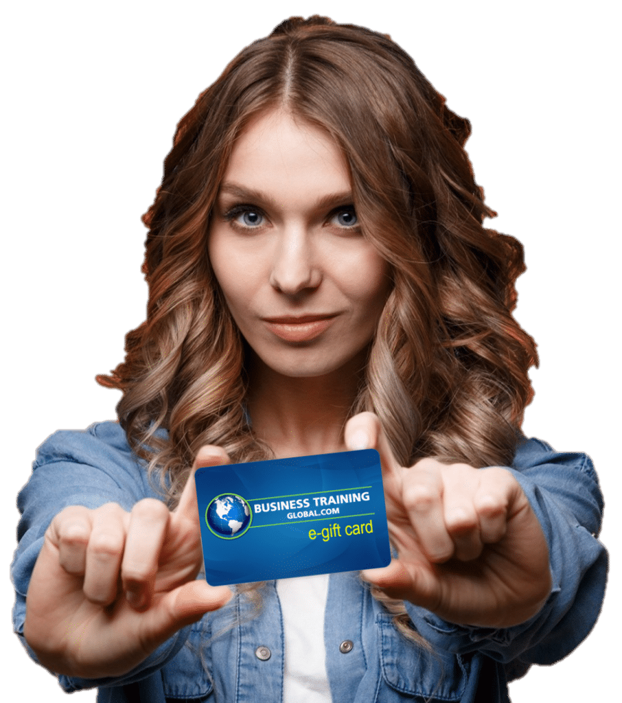 photo of woman holding business training global.com gift card